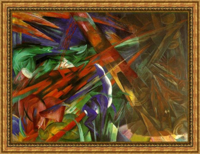 Framed Franz Marc fate of the animals painting