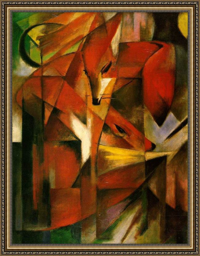 Framed Franz Marc foxes painting