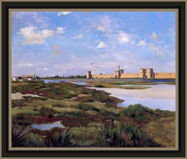 Framed Frederic Bazille aigues-mortes painting