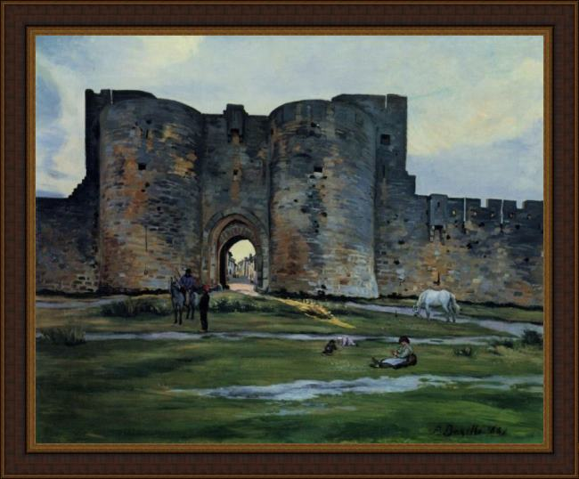 Framed Frederic Bazille queens gate at aigues-mortes painting