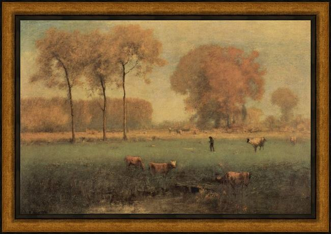 Framed George Inness summer landscape painting