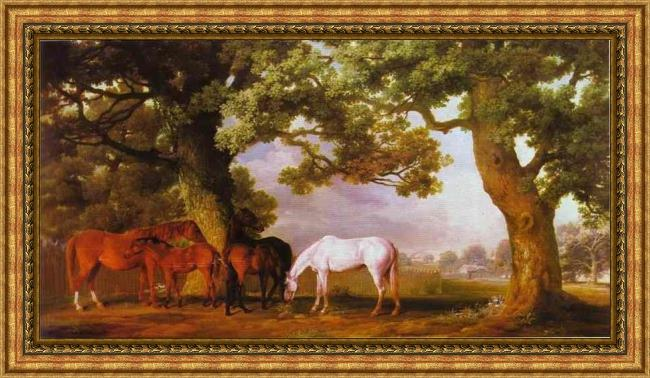 Framed George Stubbs mares and foals in a wooded landscape painting