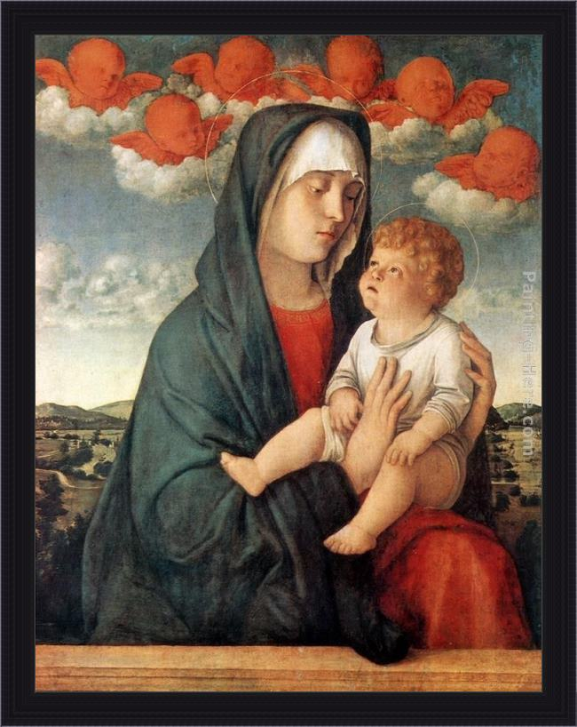 Framed Giovanni Bellini madonna of red angels painting