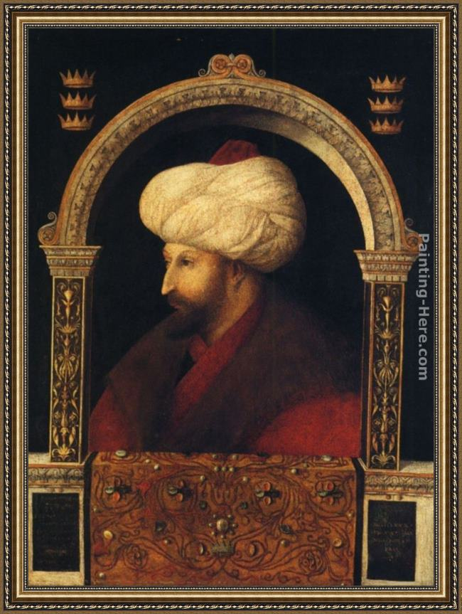Framed Giovanni Bellini sultan mehmet ii. painting
