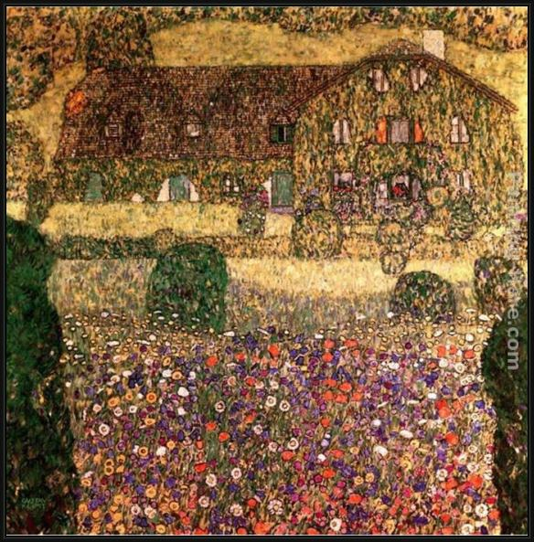 Framed Gustav Klimt country house by the attersee painting