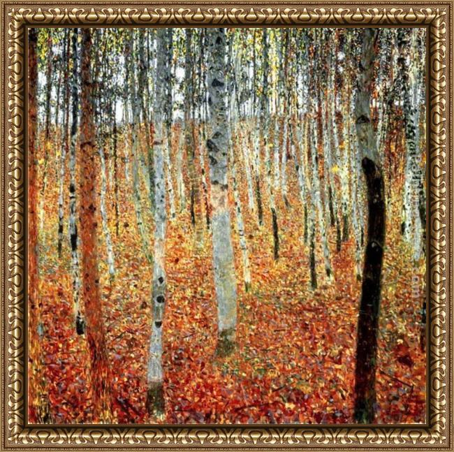 Framed Gustav Klimt forest of beech trees painting