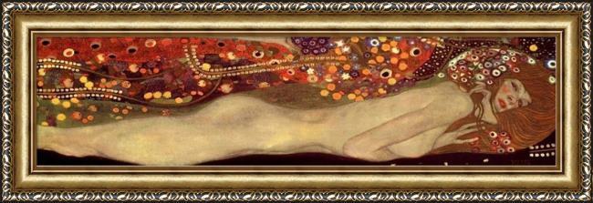 Framed Gustav Klimt sea serpents iii painting