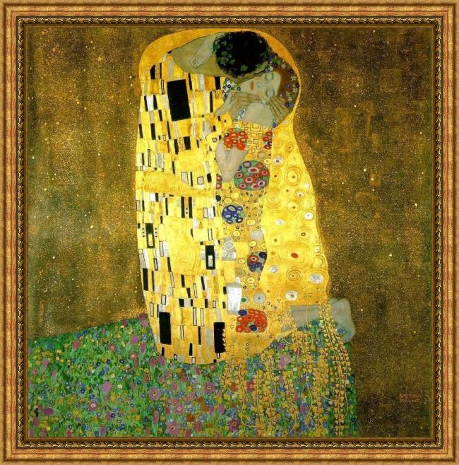 Framed Gustav Klimt the kiss painting