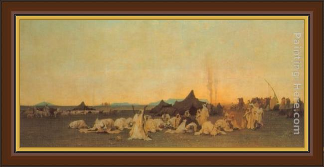 Framed Gustave Achille Guillaumet evening prayer in the sahara painting