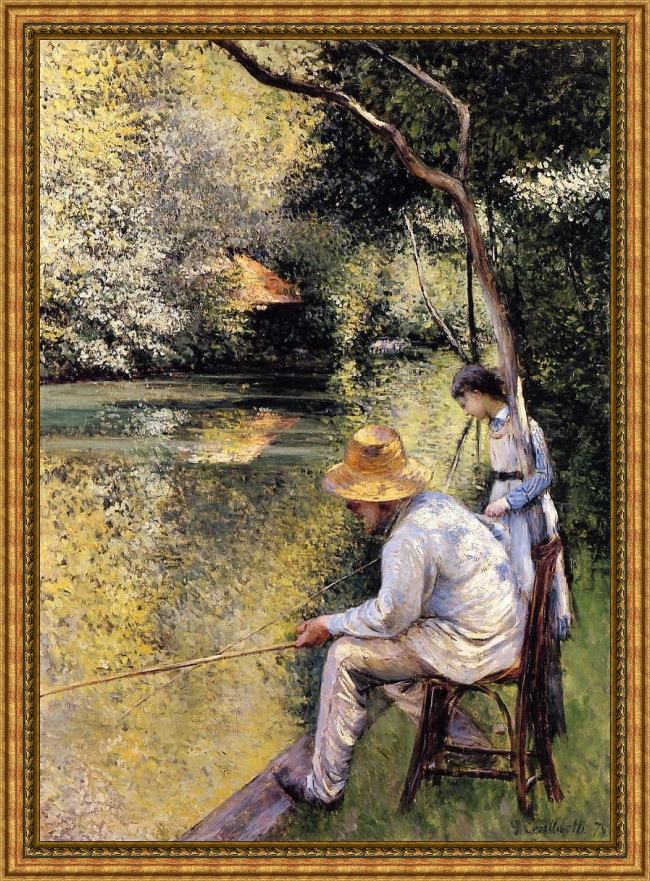 Framed Gustave Caillebotte fishing painting