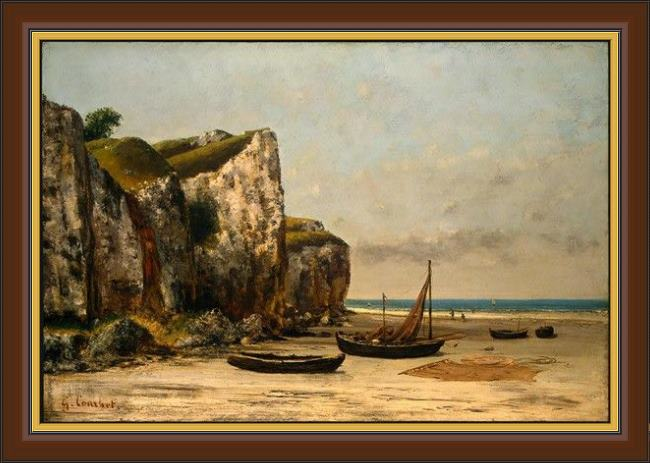 Framed Gustave Courbet plage de normandie painting