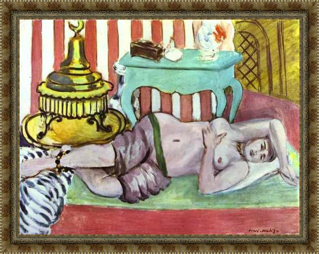 Framed Henri Matisse odalisque with green scarf painting