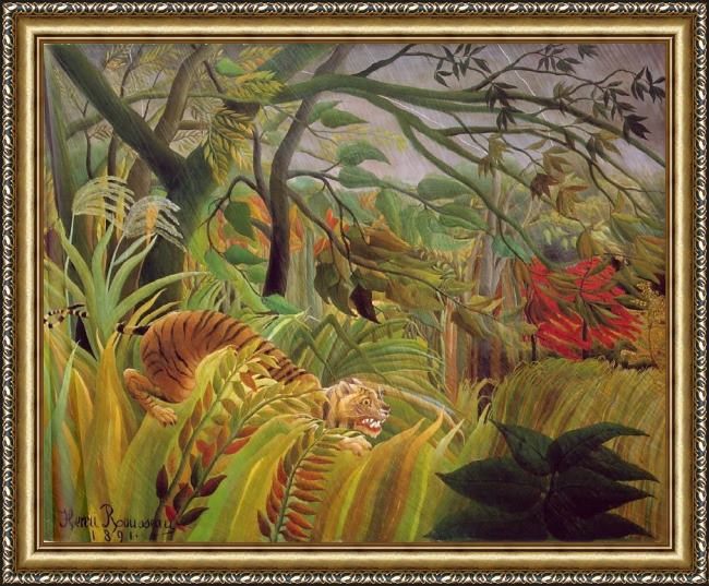 Framed Henri Rousseau surprise painting