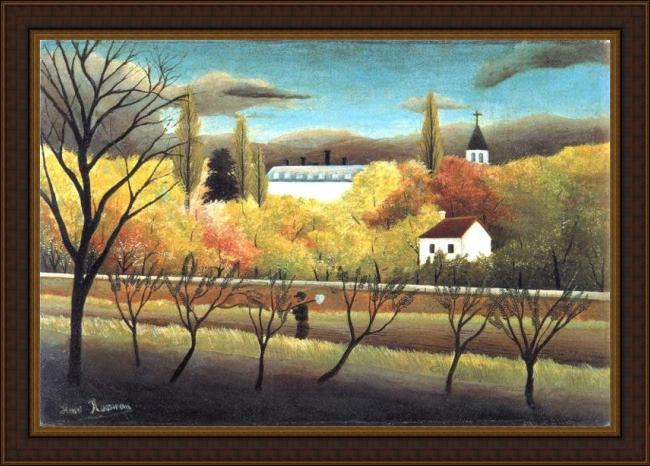 Framed Henri Rousseau the orchard painting