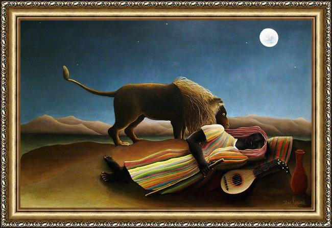 Framed Henri Rousseau the sleeping gypsy painting