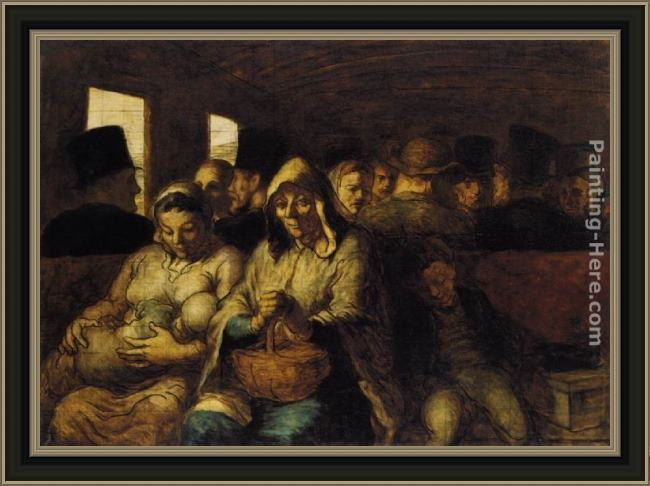 Framed Honore Daumier the third-class carriage painting