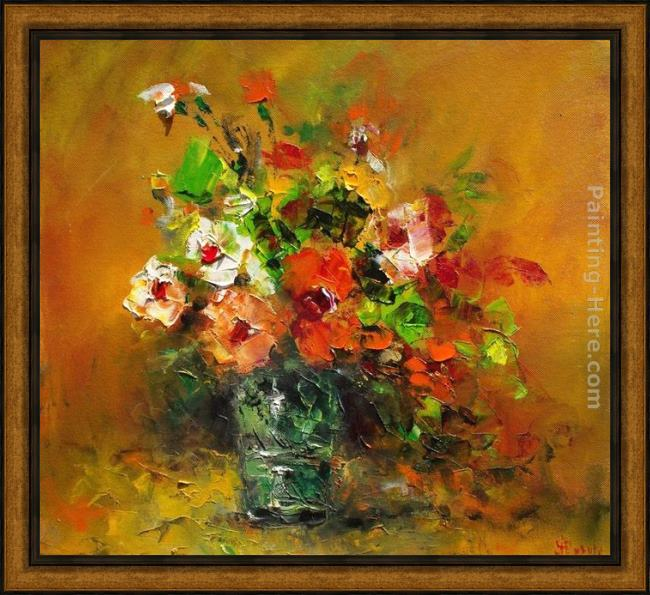 Framed Ioan Popei autumn flowers painting