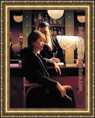 Framed Jack Vettriano cocktails and broken hearts painting