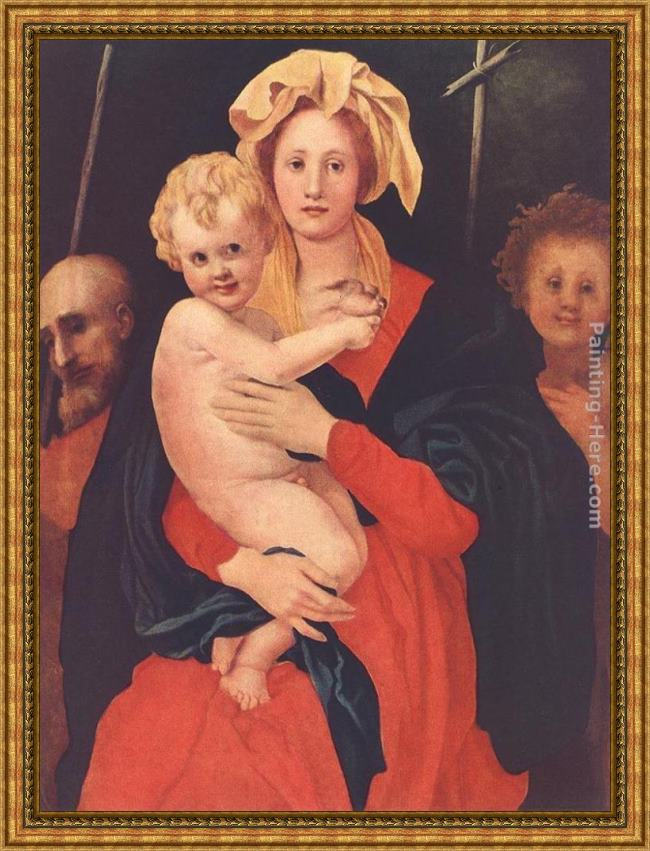 Framed Jacopo Pontormo madonna and child with st. joseph and saint john the baptist painting