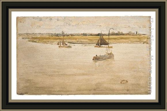 Framed James Abbott McNeill Whistler gold and brown dordrecht painting