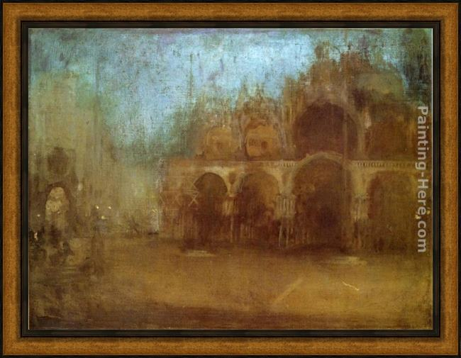 Framed James Abbott McNeill Whistler nocturne blue and gold - st mark's, venice painting