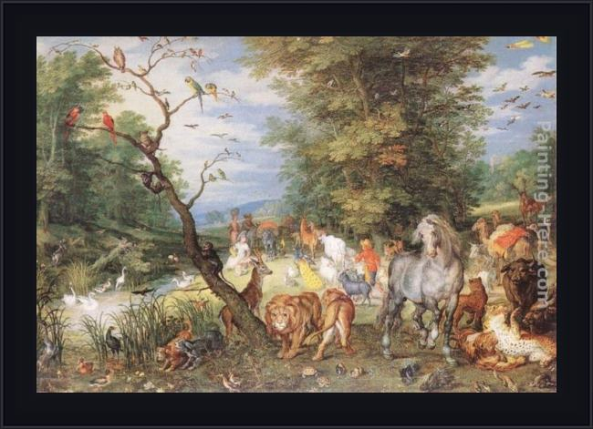 Framed Jan the elder Brueghel the animals entering the ark painting