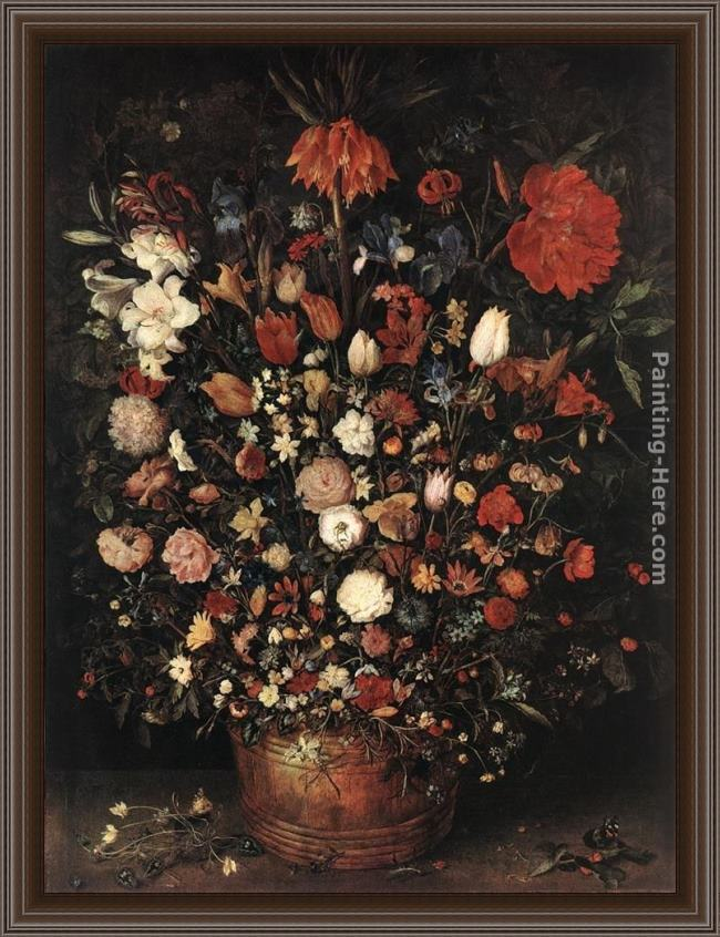 Framed Jan the elder Brueghel the great bouquet painting