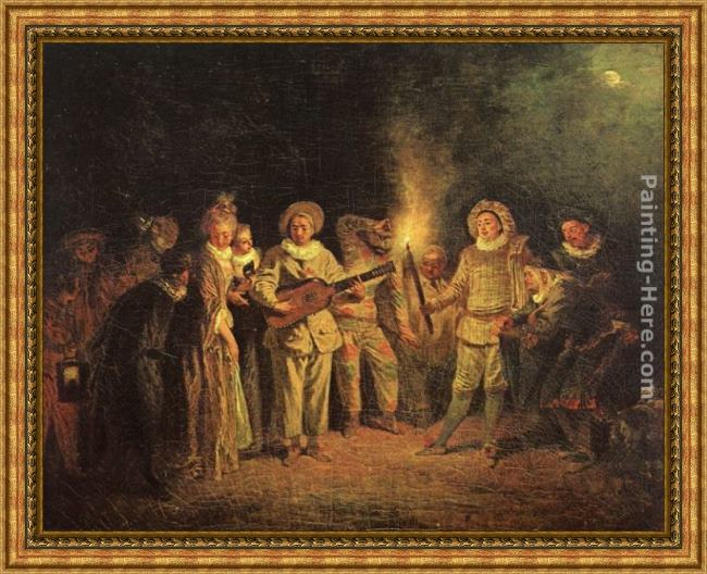 Framed Jean-Antoine Watteau the italian comedy painting