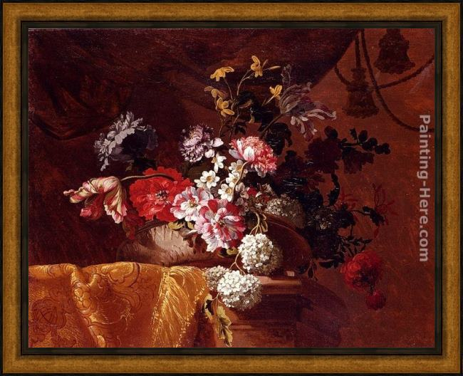 Framed Jean-Baptiste Monnoyer still life of hydrangeas, convolvuli, peonies and other flowers in an urn on a draped stone ledge painting