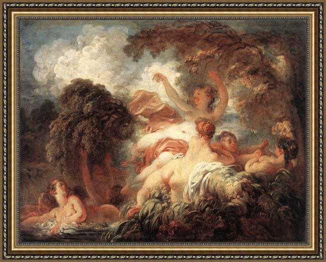 Framed Jean-Honore Fragonard the bathers painting