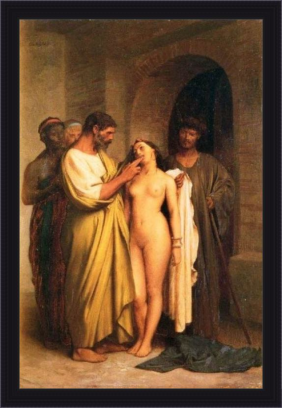 Framed Jean-Leon Gerome purchase of a slave painting