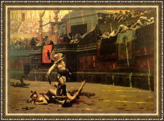 Framed Jean-Leon Gerome thumbs down painting
