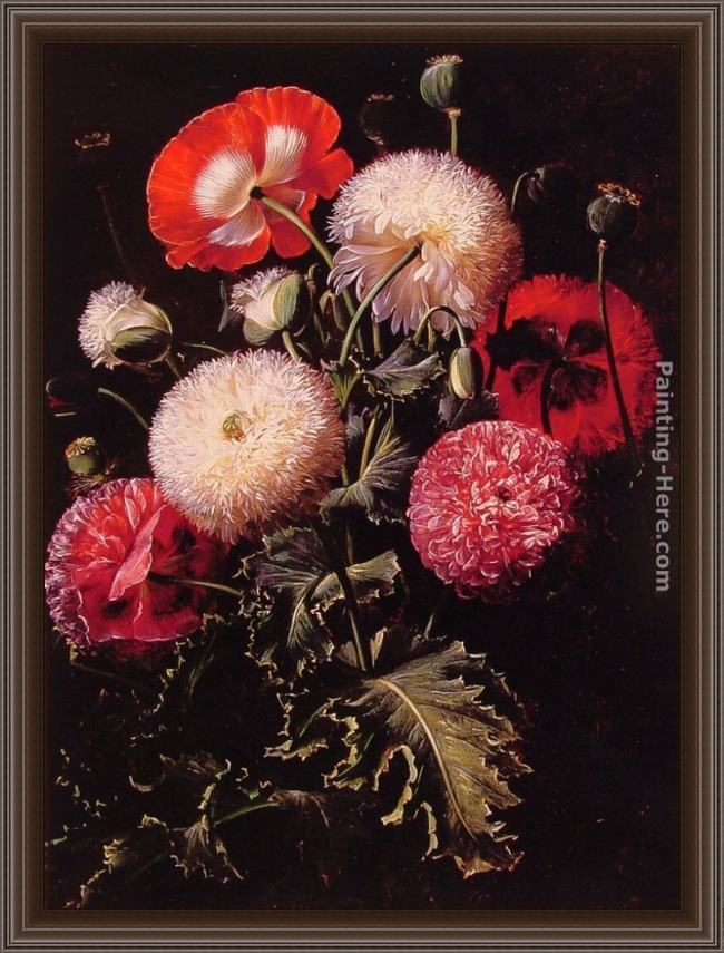 Framed Johan Laurentz Jensen still life with pink, red and white poppies painting