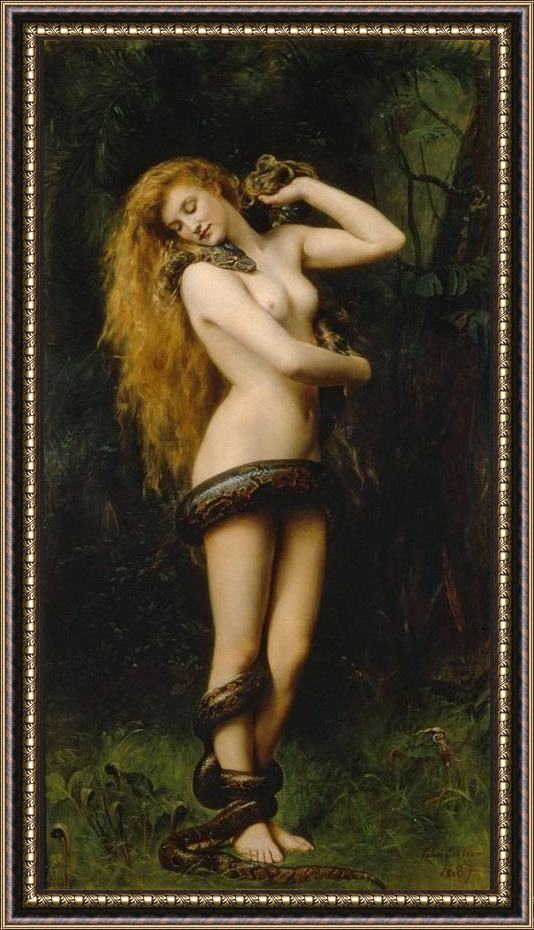 Framed John Collier lilith painting