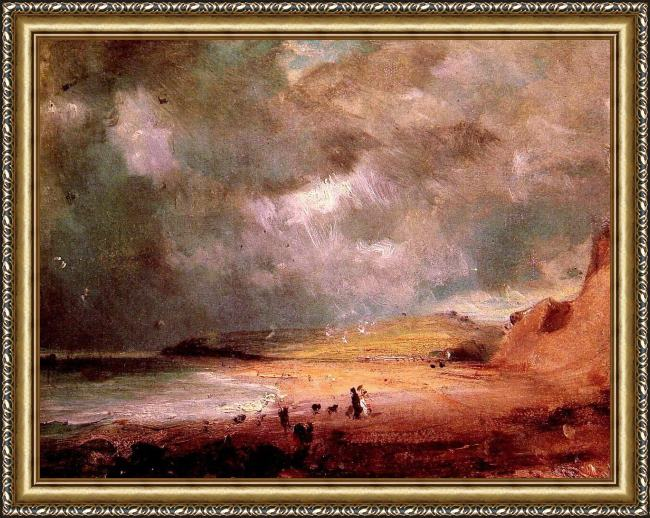 Framed John Constable weymouth bay painting
