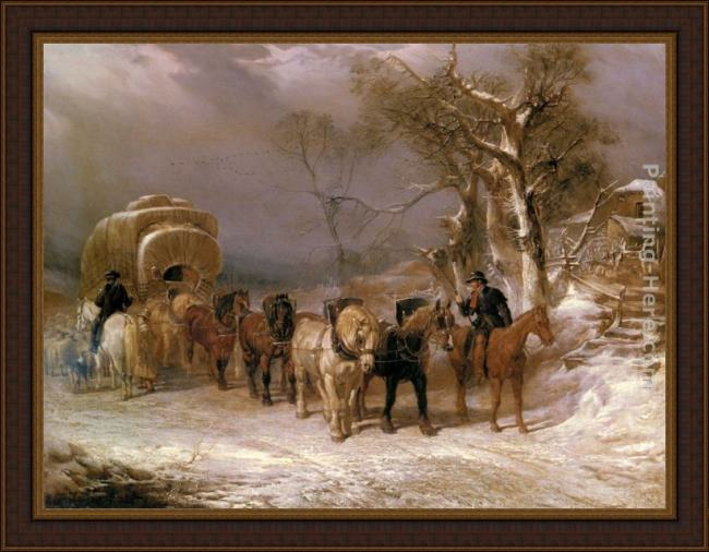 Framed John Frederick Herring Snr the welcome halt painting
