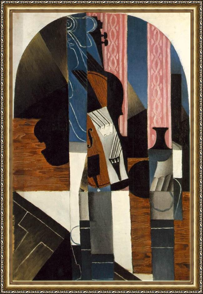 Framed Juan Gris violin and engraving painting