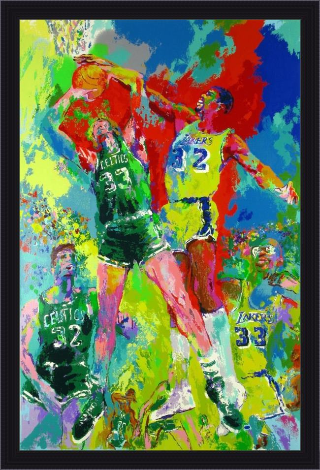 Framed Leroy Neiman magic johnson painting