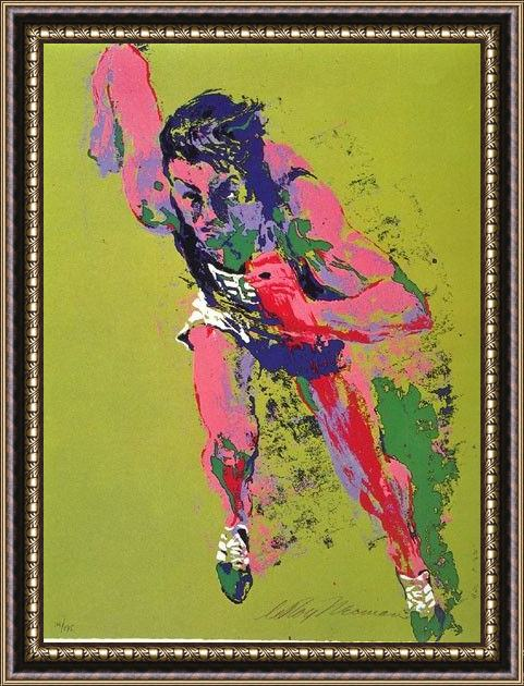 Framed Leroy Neiman olympic runner painting
