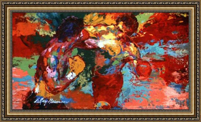Framed Leroy Neiman rocky vs apollo painting
