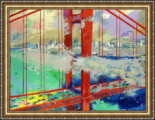 Framed Leroy Neiman san francisco by day painting