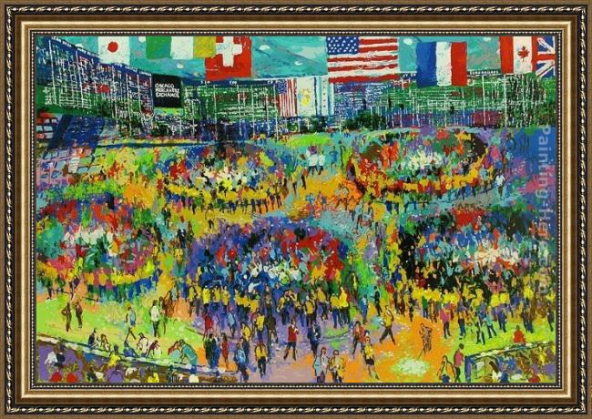 Framed Leroy Neiman the chicago mercantile exchange painting