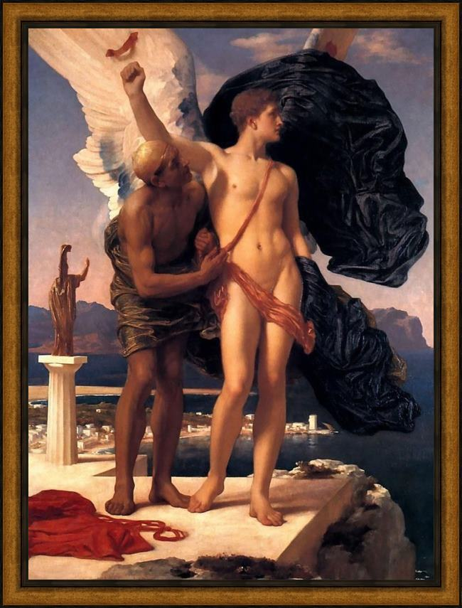 Framed Lord Frederick Leighton daedalus and icarus painting