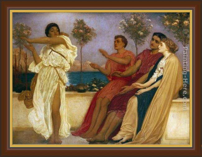 Framed Lord Frederick Leighton greek girl dancing painting