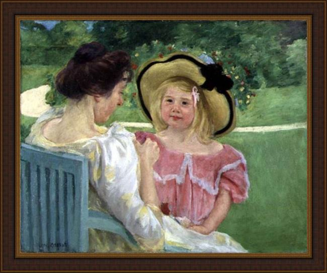 Framed Mary Cassatt in the garden, 1904 painting