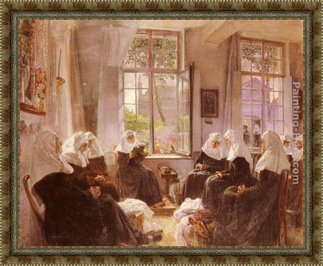 Framed Max Silbert the lacemakers of ghent at prayer painting