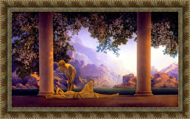 Framed Maxfield Parrish daybreak painting