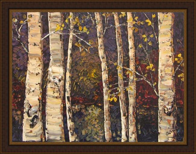 Framed Maya Eventov birches at twilight painting