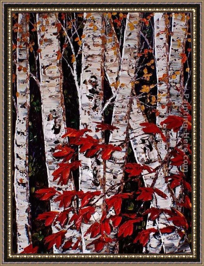 Framed Maya Eventov midnight birch painting