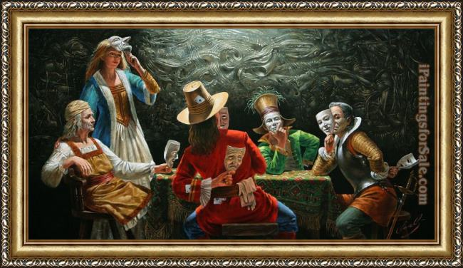 Framed Michael Cheval hypocrisy assembly painting
